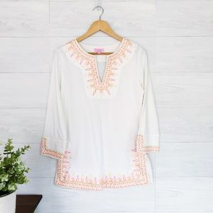 Lilly Pulitzer White Pink Embroidered Tunic